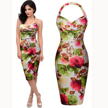 Sexy Halter Backless Sleeveless Flower Print Bodycon A-line Knee-length Dress