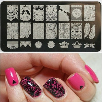 Cala Nail Art Stamp Lace Collection - Nailart Polish Stamping Manicure Image Plates Accessories Kit New Designs TOOLS BC03