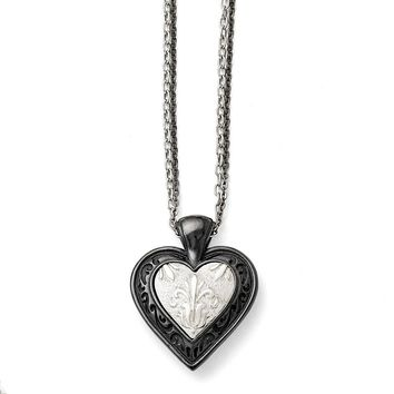Men's Titanium/Sterling Silver Black Ti Etched Heart with Chain Necklace