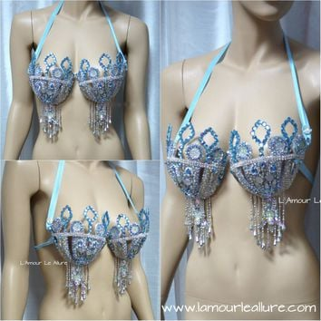 {SALE ITEM} Elsa Ice Queen Samba Bra Cosplay Dance Costume Rave Bra Rave Wear Halloween Burlesque Show Girl