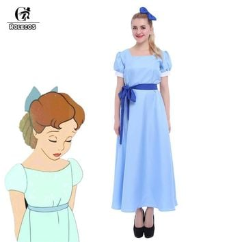 ROLECOS US Size - Green Elf Peter Pan Cosplay Costume Wendy Blue Dresses GC08