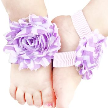 Shabby Chic Baby Toddler Barefoot Sandal Purple Chiffon Flower Elastic Foot Wear  2 Pc 1 Pair New Item