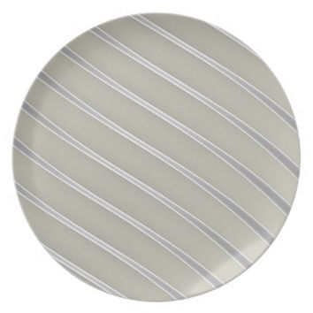 Grey Silver Curved Lines Chic abstract flow Dinner Plates