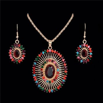 Atreus Bohemian Fashion Multi-colored Rhinestone Oval Shape African Beads Wedding Jewelry Set For Women Earring Pendant Necklace