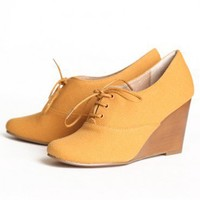 Chelsea Crew Sari oxford wedges in mustard