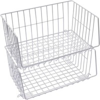 Mainstays Stacking Baskets, White, 2pk - Walmart.com