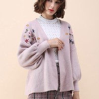 Floral Song Embroidered Knit Cardigan in Pink