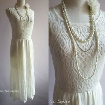 Art Deco 1920s Vintage Flapper Lace Gatsby Elegant Pleated Crochet Long Dress