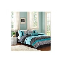 Comforter Bed Set Teen Bedding Modern Teal Black Animal Print Girls Bedspead Update Home (full/queen) by M zone