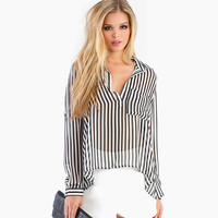 Black And White Pinstripes  Long Sleeves Sheer Chiffon Top