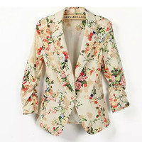 Yellow Floral Print Sleeve Blazer