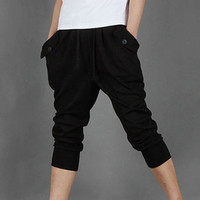 Plain Drawstring Pocket Pants