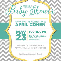 "4"" x 5"" Gender Neutral Baby Shower Invitation on Card Stock or Photo Paper"