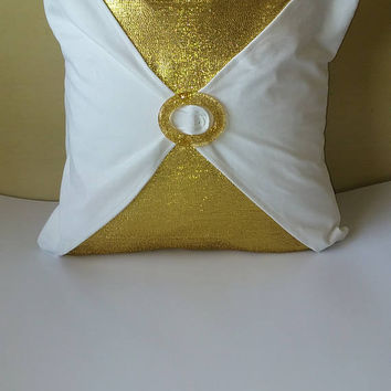 Metallic Gold w/ Glitter Gold Buckle Luxury Pillow Cover