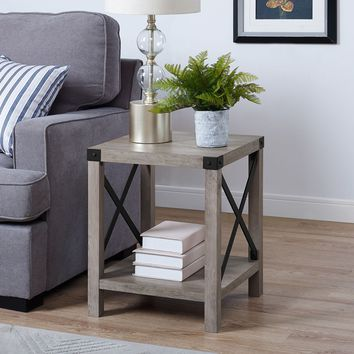 Modern Farmhouse Gray Wash Side Table