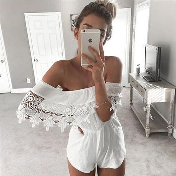 White Off Shoulder Lace Collar Romper