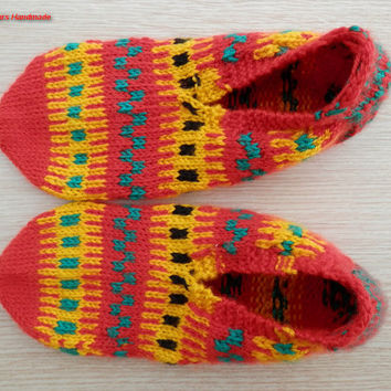 item no:163 Hand knit unique women's warm and cozy winter slippers, slipper socks.