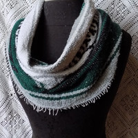 Soft Green and Grey Mexican Blanket Small Cowl Scarf- Free Shipping to Continental US