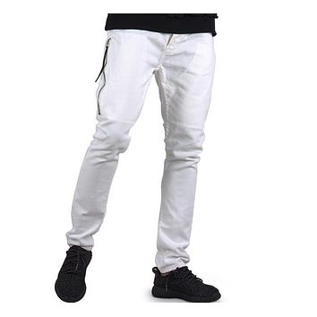 Fashion jeans pants men street white color  hip hop fitness men slim pants skirt pants men clothing