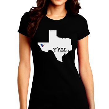 Texas State Y'all Design with Flag Heart Juniors Crew Dark T-Shirt by TooLoud