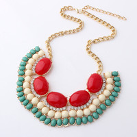 Red Fringe Statement Necklace, Jcrew Inpired Fringe Bib Jewelry,Free Gift Box Packaging Available