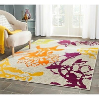 Rug Area Accent 4' x 6' Grey Purple Orange Yellow Abstract Print Floral NEW