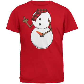 Middle Finger Snowman Body Costume Red Adult T-Shirt