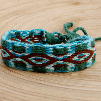 weave bracelet, card waving woven tribal patterned blue green brown bracelet, women men ethnic wrist band, friendship bracelet, jewelry