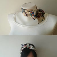 Beige Floral Print Mini Skinny Scarf, Cotton Neck Tie, Headband, Choker Scarf, Thin Scarf with Angled Ends, Spring Summer Accessories