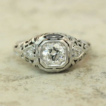 Antique Engagement Ring Vintage Diamond Ring Art Deco Ring Edwardian Ring 18k White Gold Ring Estate Ring Wedding Ring Dainty Ring Size 4.5