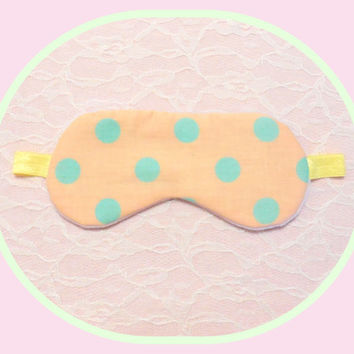 Sleep Mask - Peach Polka Dots - Light Blocking - Padded - Soft Pink Velour - Women - Teen Girl - Present - Comfortable Yellow Elastic