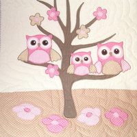 Owl Quilt Baby Shower Gift Baby Blanket, Baby Bedding