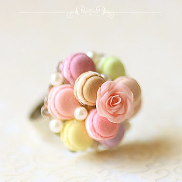 Dessert Jewelry - Feminine Macaron Ring - Gift For Her