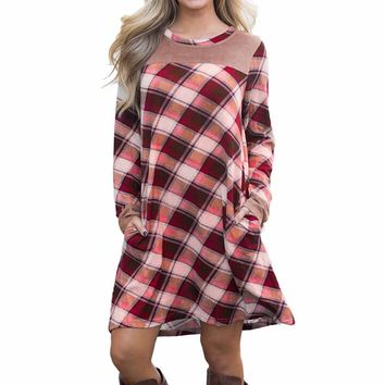 feitong Elegant Casual women dresses NEW 2017  Women's Plaid Printed shirt Dress Flared Tunic Mini Dress with Pocket Dresses