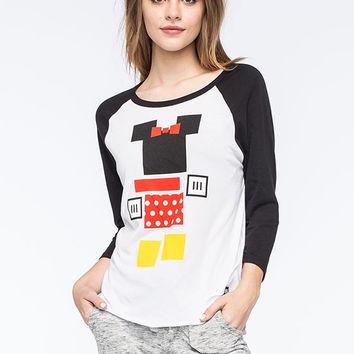 Neff Disney Collection Minnie Blocks Womens Raglan Tee White/Black  In Sizes