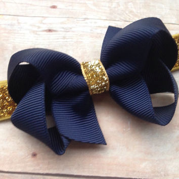 Navy blue boutique bow on gold glitter headband - gold baby headband, gold headband, navy blue bow headband