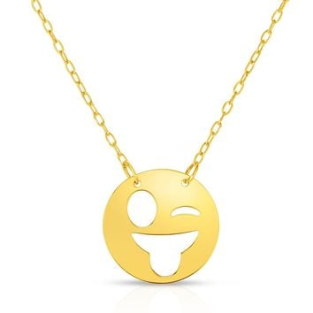 14k Yellow Gold Winking Sticking Tongue Out Emoji Necklace, 16""