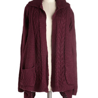 ModCloth Long Long Sleeve Early Morning Date Cardigan in Currant