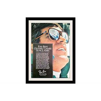 """1975 Ray Ban Sunglasses Ad """"Olympic Games"""" Vintage Advertisement Print"""