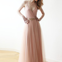 Pink tulle maxi dress, Bridesmaids pink straps maxi gown