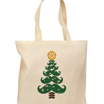 Mustache Christmas Tree Grocery Tote Bag