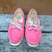 Cotton Candy Pink Sperry Top- Siders Canvas Shoes Size 5m ladies Preppy Sneakers 90s
