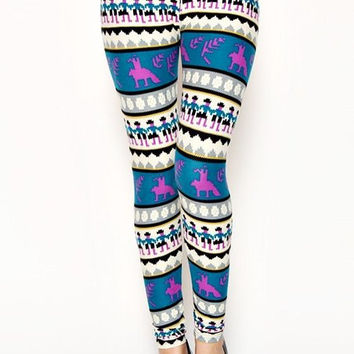 Colorful Blue Summer Leggings Tribal Aztec Pattern- Yoga Leggings - Yoga Tights - Workout Leggings - Art Leggings - Running Leggings