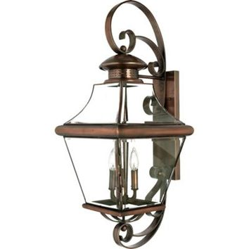Quoizel Carleton Outdoor Extra-Large Wall Lantern in Aged Copper