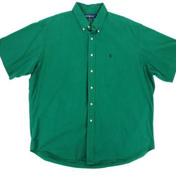 Vintage Short Sleeve Oxford Shirt by Ralph Lauren Polo - Button Down Green Preppy Ivy
