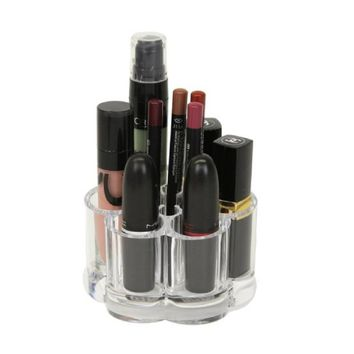 iLory Transparent Acrylic Flower Style Cosmetic Organizer Makeup Brush Holder Lipstick Pen Pencil Display Stand with 12 Slot Spaces for Desk