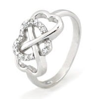 TIONEER Sterling Silver Cubic Zirconia Engagement Promise Heart Infinity Ring, Size 8