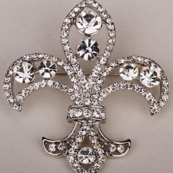 SHIPS FROM USA Fleur de lis brooch pin for women austrian crystal jewelry gold & silver color ZP08