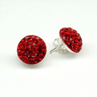 Red Swarovski Crystal Earrings 14 mm,Sterling Post,Red Fashion Jewelry