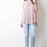Loose Knit Sleeveless Trapeze Top